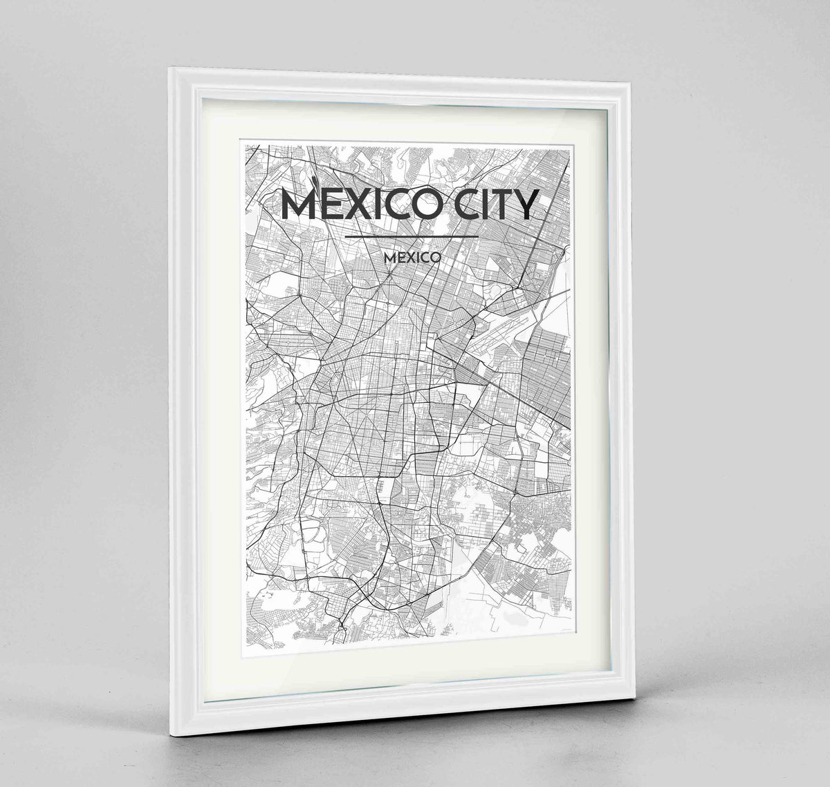 "Framed Mexico City Map Art Print 24x36"" Traditional White frame Point Two Design Group"