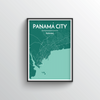 Panama City Map Art Print - Point Two Design - Black & White Print
