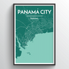 Panama City Map Art Print - Point Two Design