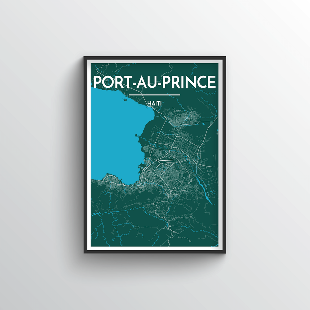 Port Au Prince City Map Art Print - Point Two Design - Black & White Print