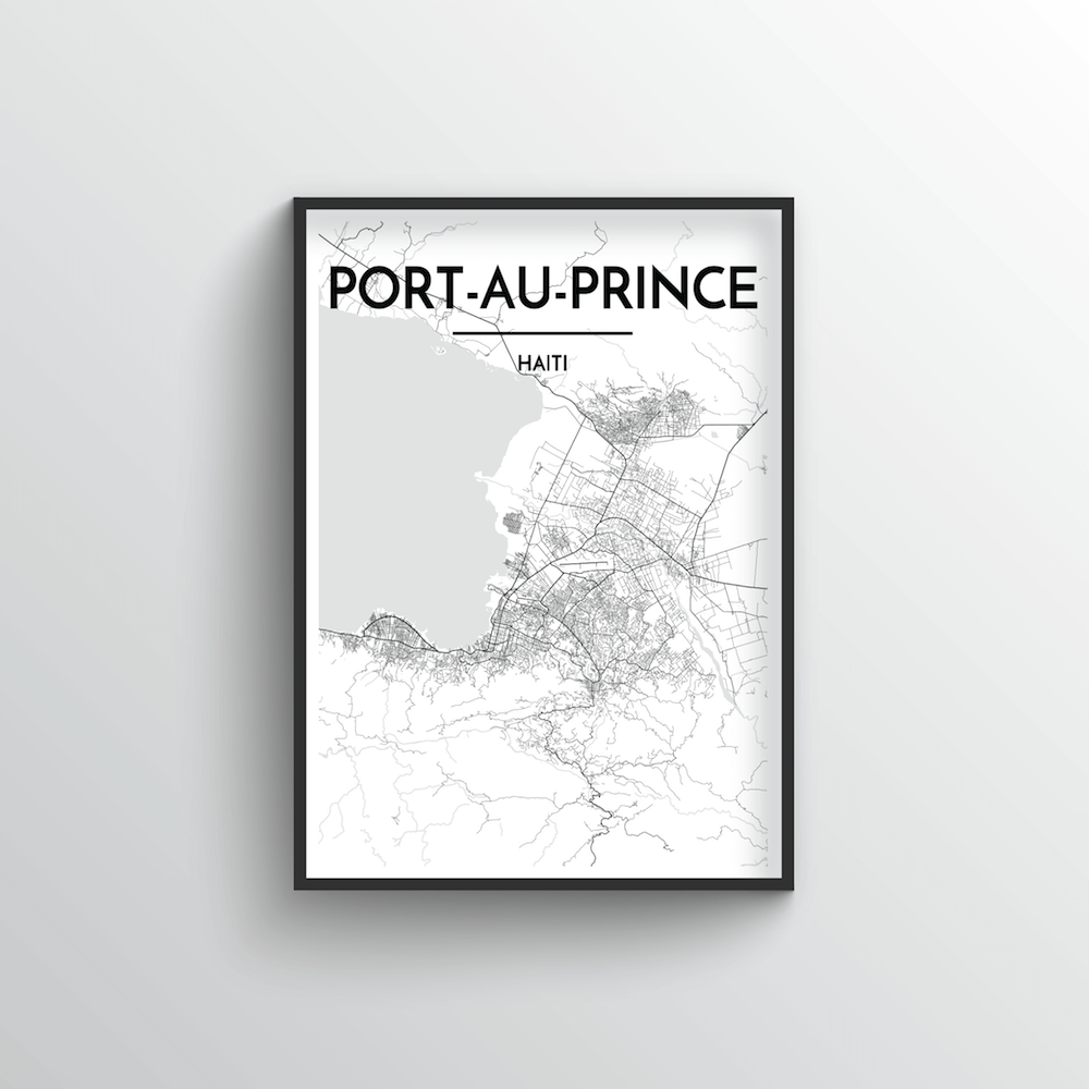 Port Au Prince City Map Art Print - Point Two Design