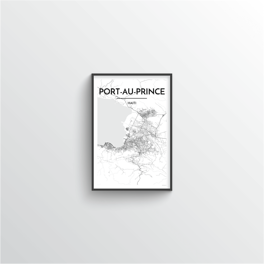 Port Au Prince Map Art Print
