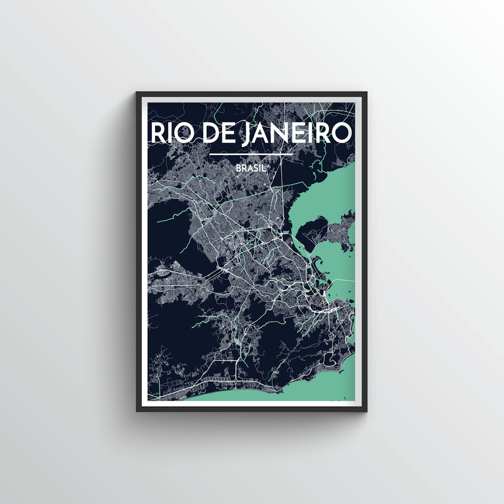 Rio de Janeiro City Map Art Print - Point Two Design - Black & White Print