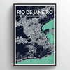 Rio de Janeiro City Map Art Print - Point Two Design