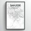San Jose City Map Art Print - Point Two Design