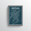 Santiago City Map Art Print - Point Two Design - Black & White Print