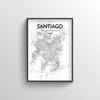Santiago City Map Art Print - Point Two Design