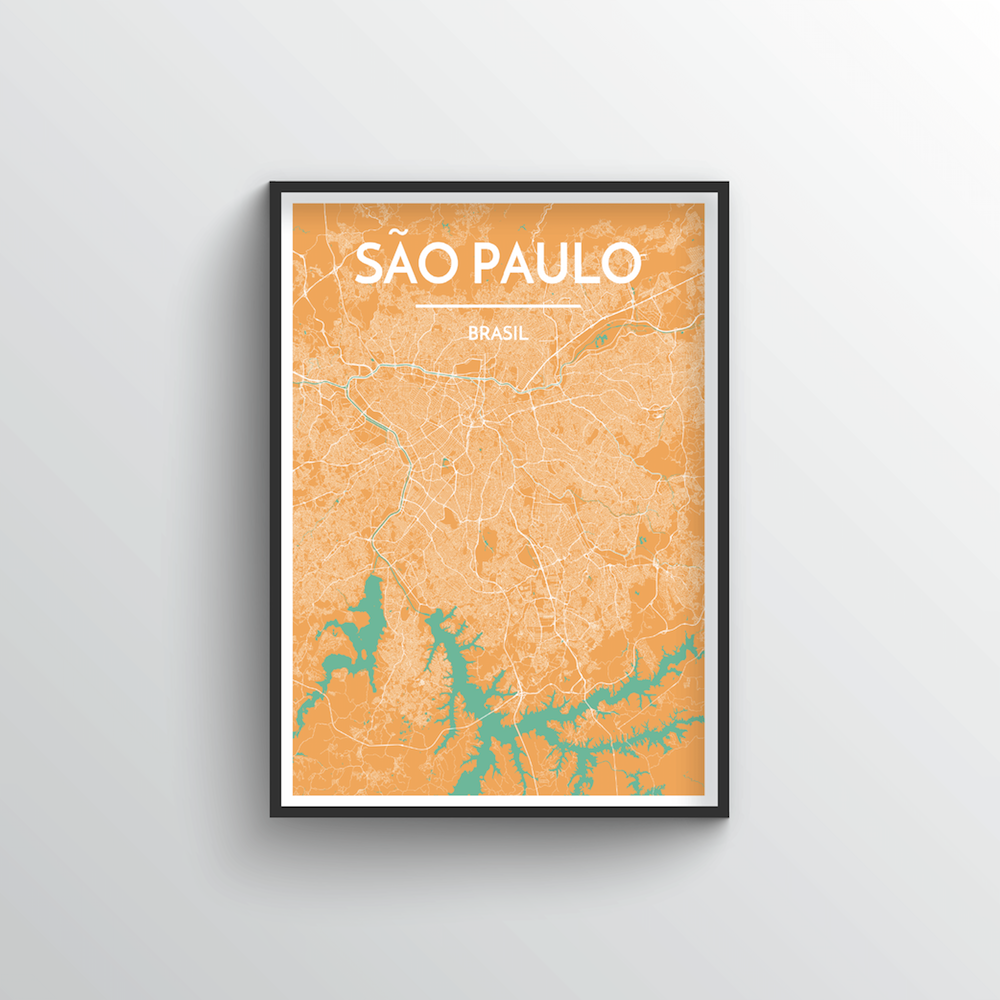 Sao Paulo City Map Art Print - Point Two Design - Black & White Print