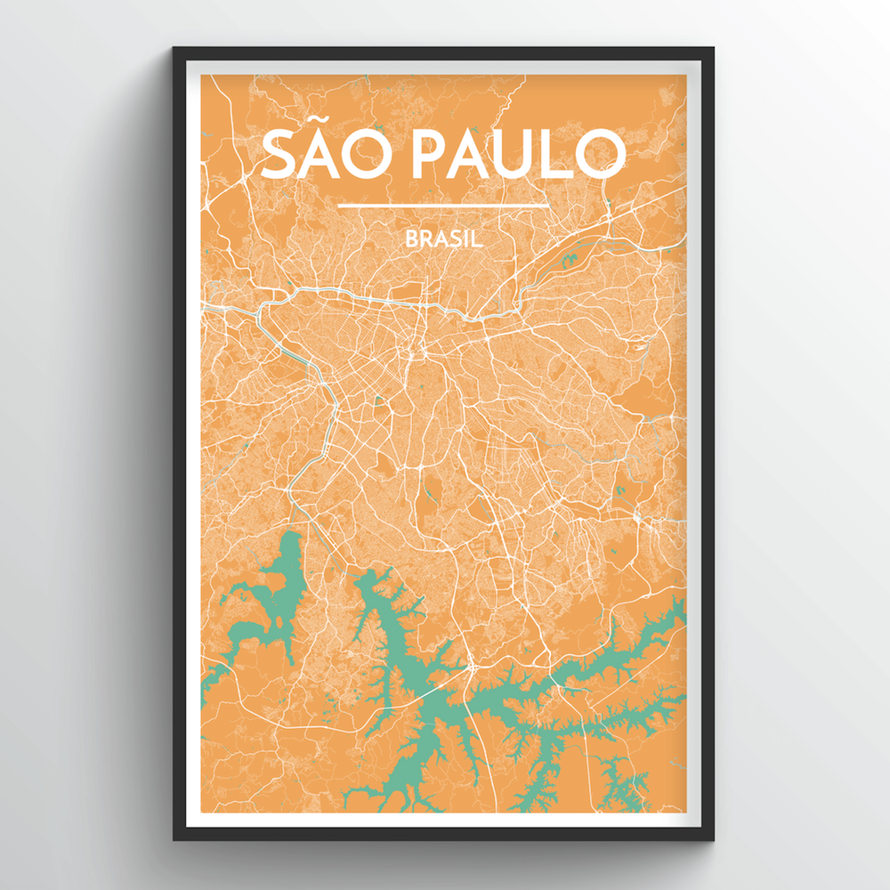 Sao Paulo City Map Art Print - Point Two Design