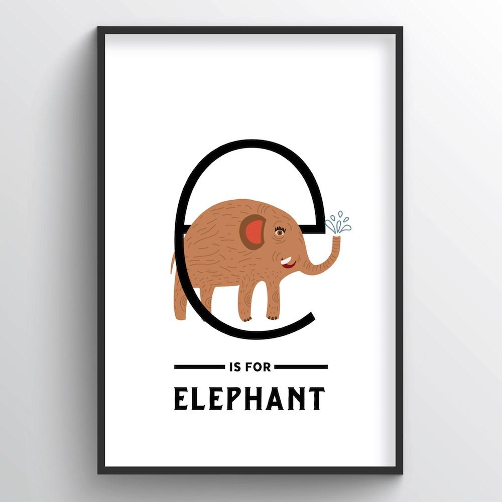 Animal Alphabet - Letter E - Point Two Design