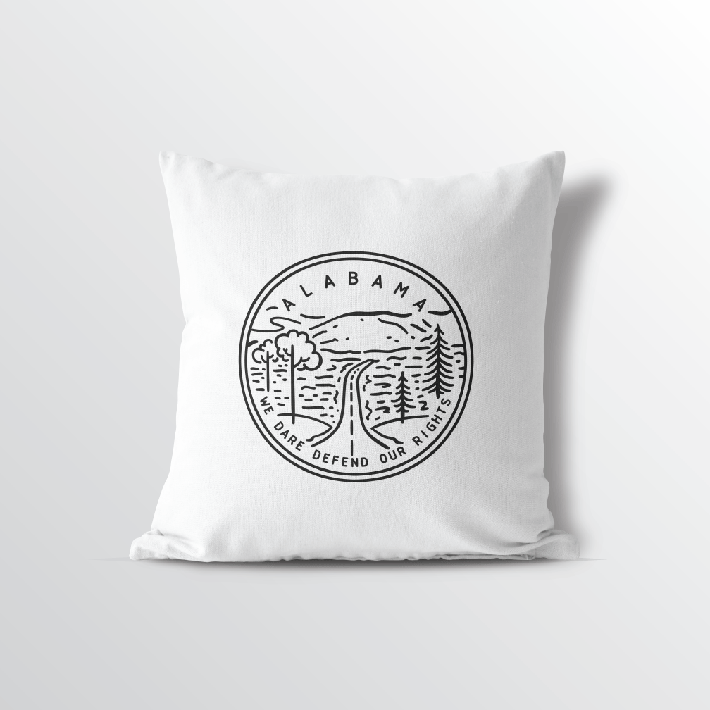 Alabama State Crest Velveteen Throw Pillow - Point Two Design
