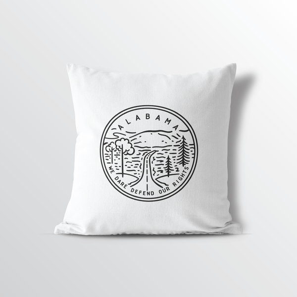 Alabama State Crest Throw Pillow - Point Two Design