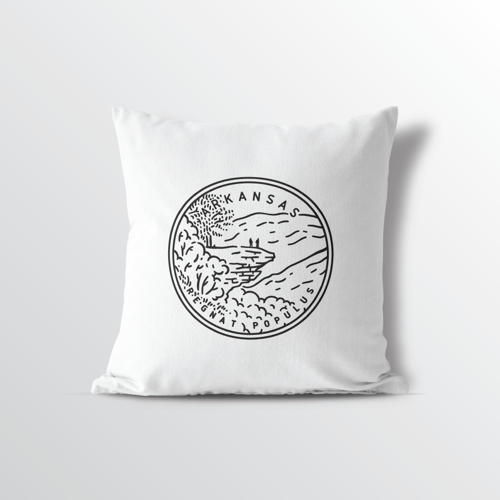 Arkansas State Crest Velveteen Throw Pillow - Point Two Design