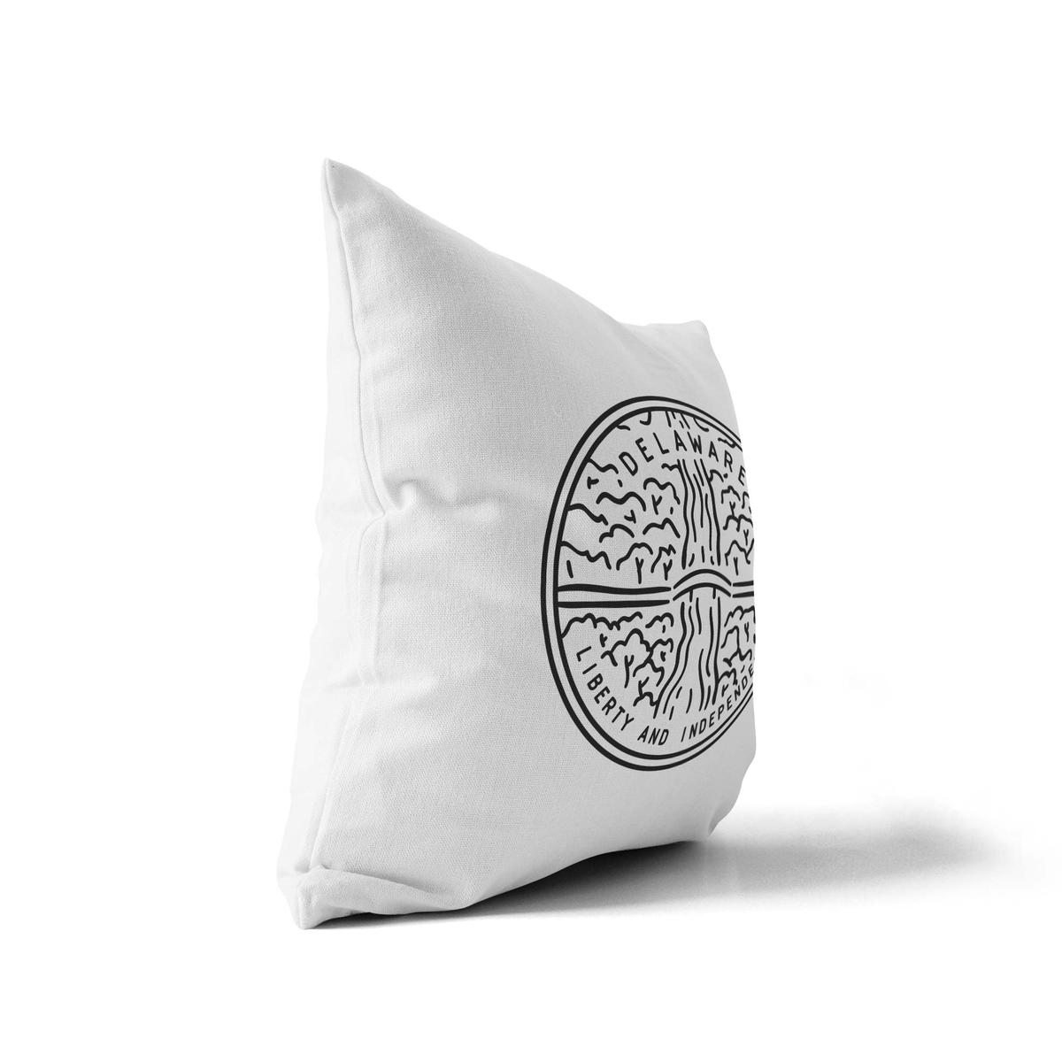 Delaware State Crest Velveteen Throw Pillow - Point Two Design