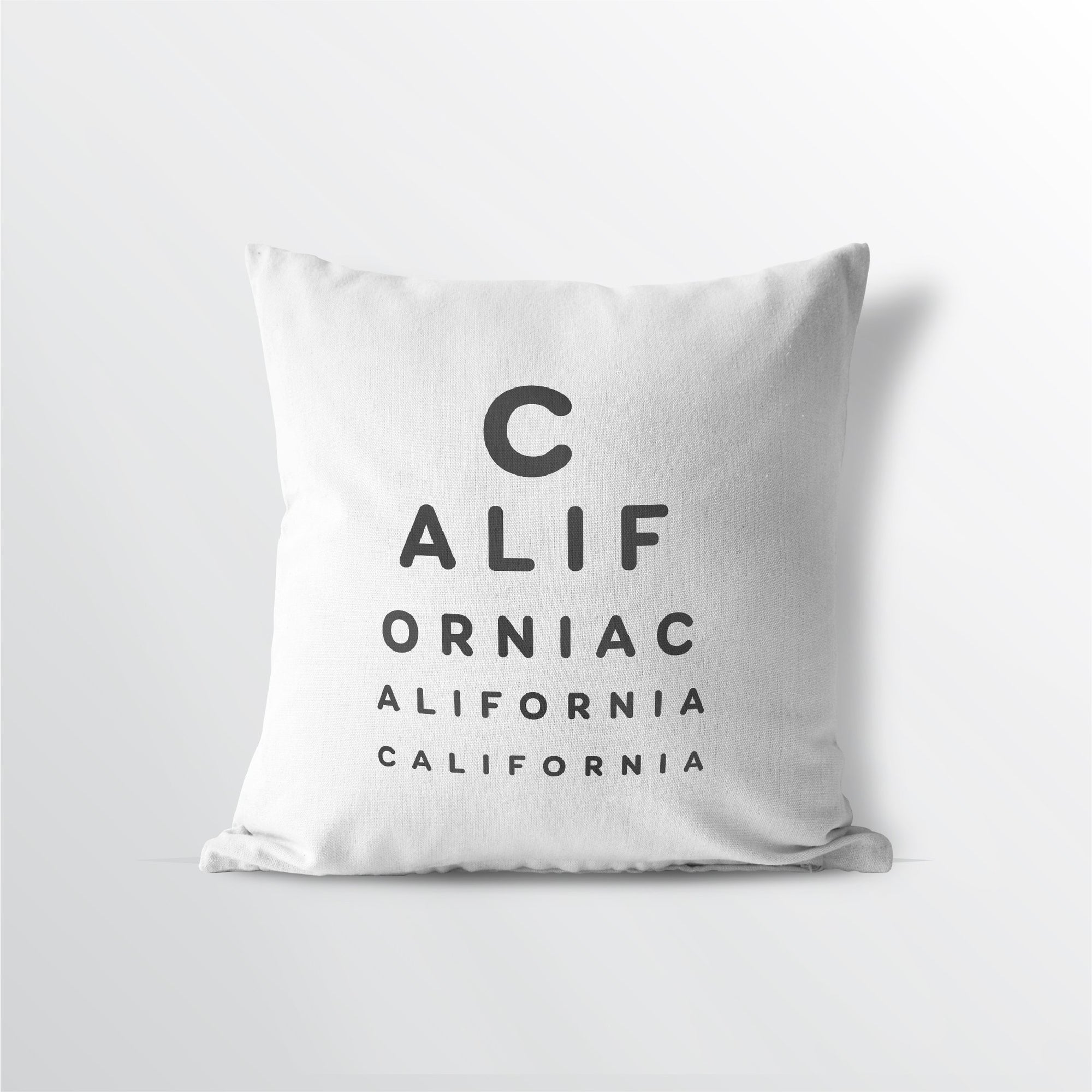 "California ""Eye Exam"" Velveteen Throw Pillow - Point Two Design"