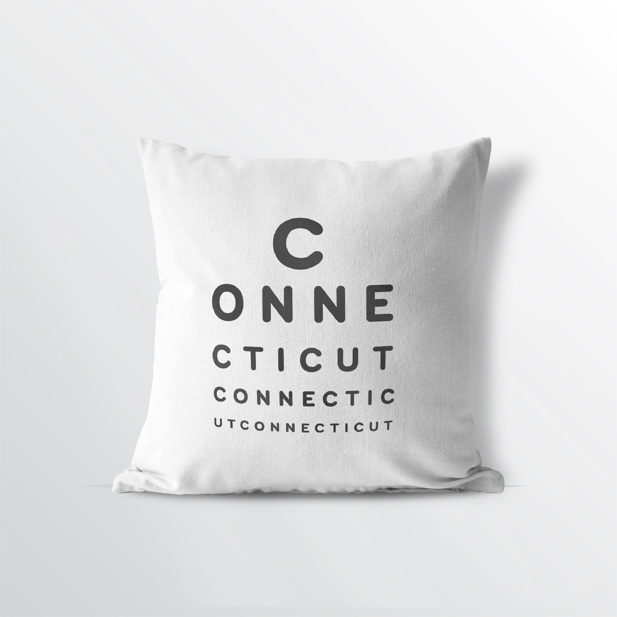 "Connecticut ""Eye Exam"" Velveteen Throw Pillow - Point Two Design"