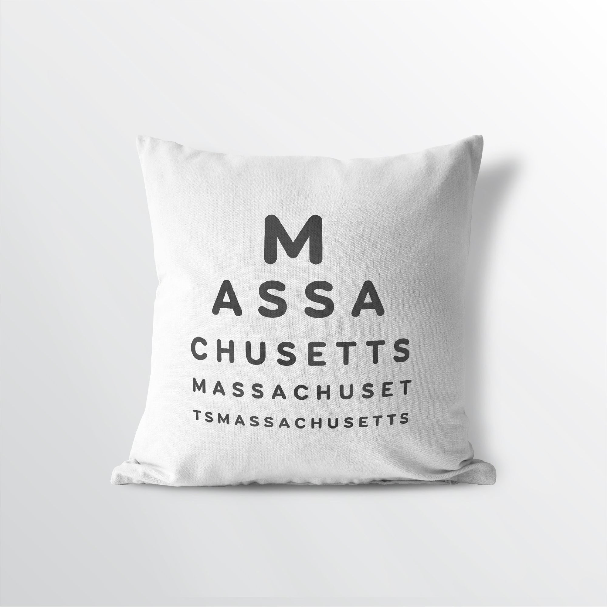 "Massachusetts ""Eye Exam"" Throw Pillow"