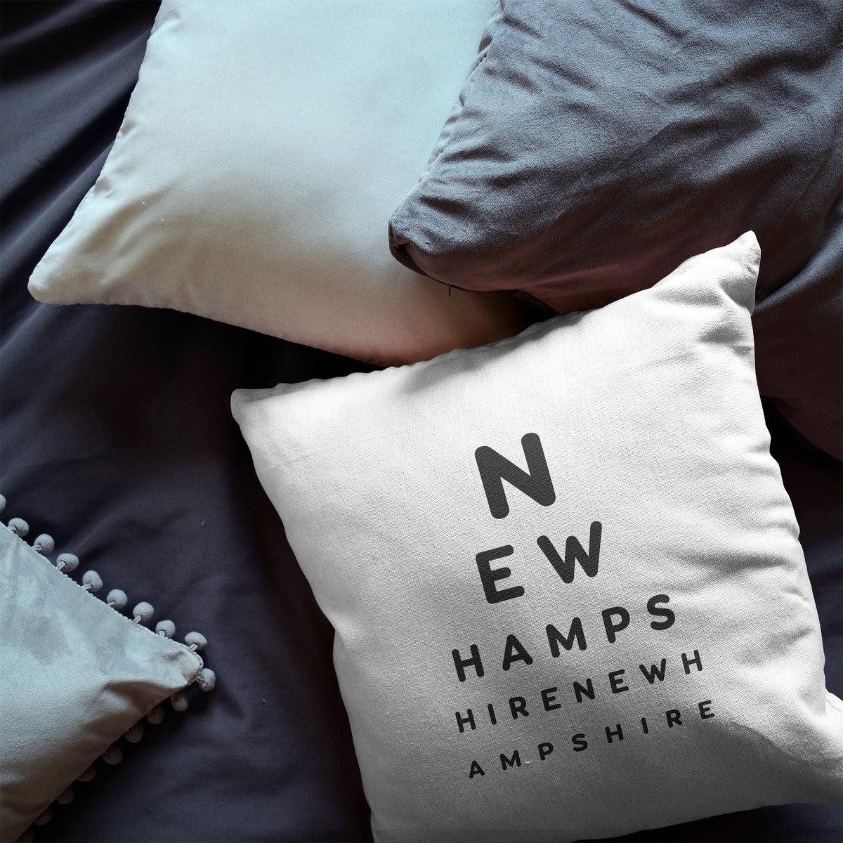 "New Hampshire ""Eye Exam"" Throw Pillow"