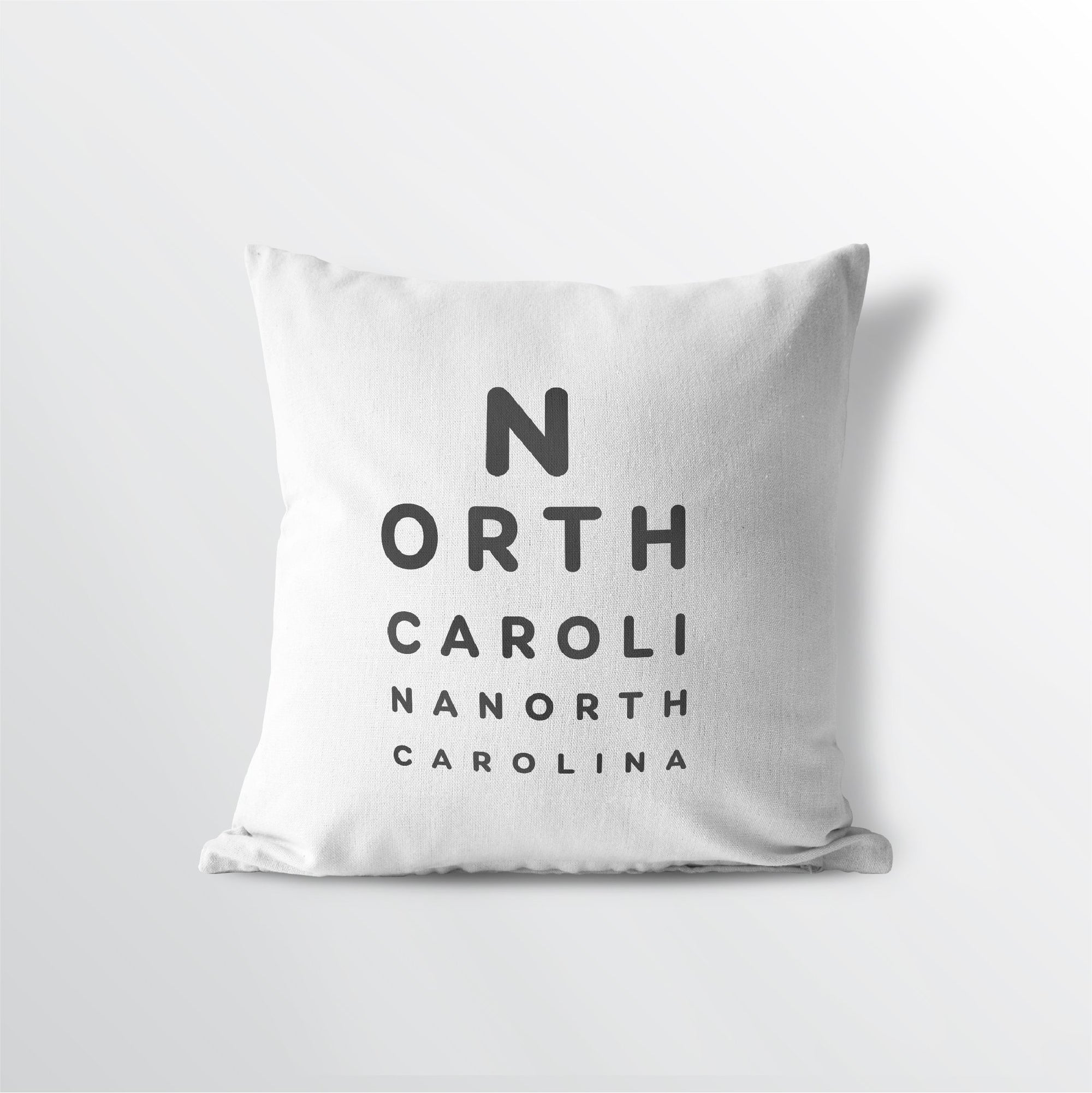 "North Carolina ""Eye Exam"" Throw Pillow"