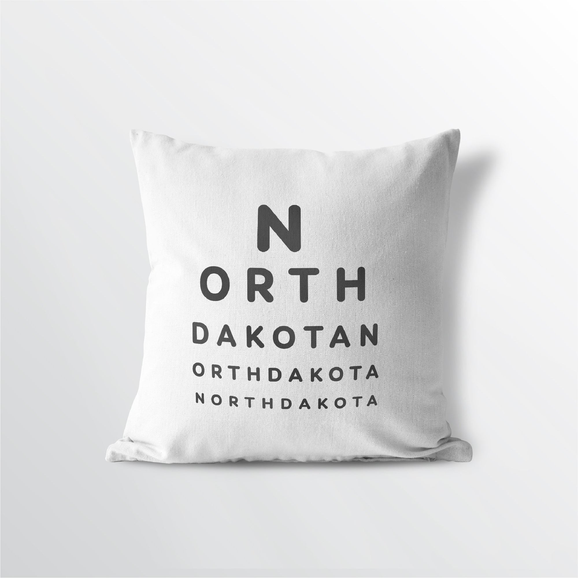 "North Dakota ""Eye Exam"" Throw Pillow"