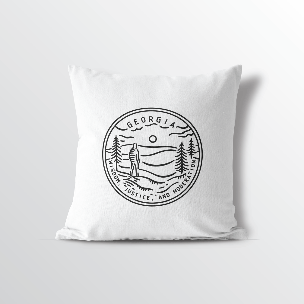 Georgia State Crest Throw Pillow - Point Two Design