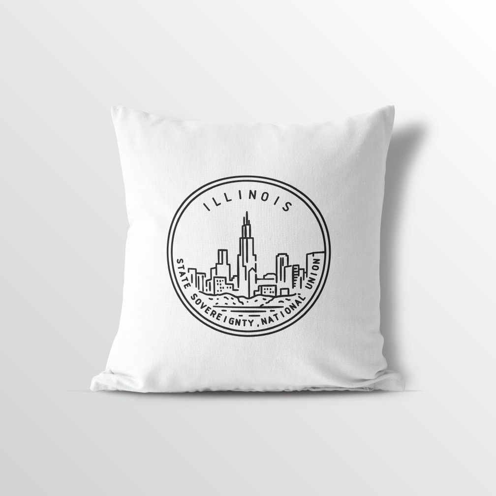 Illinois State Crest Throw Pillow