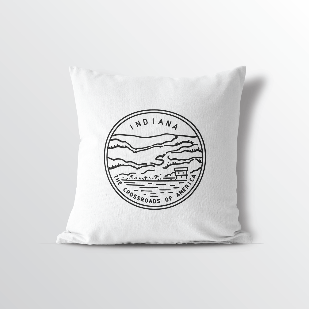 Indiana State Crest Throw Pillow