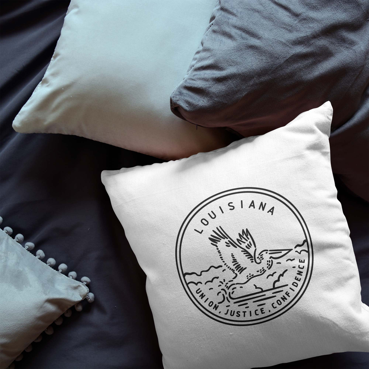 Louisiana State Crest Throw Pillow