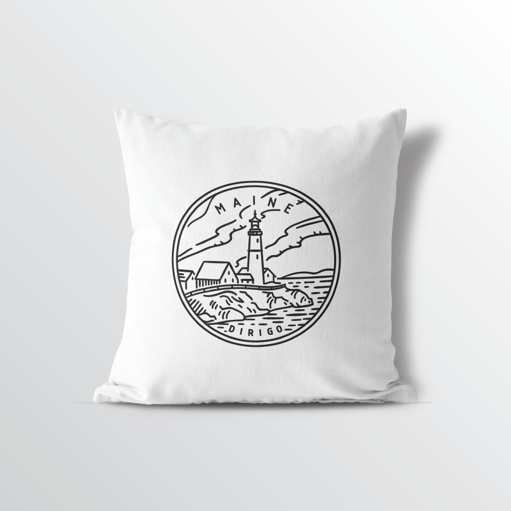 Maine State Crest Throw Pillow