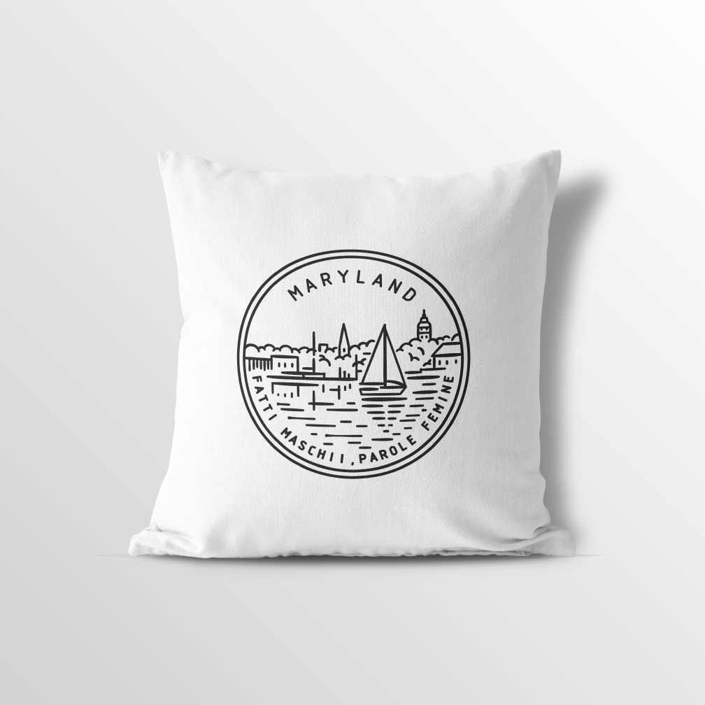 Maryland State Crest Throw Pillow