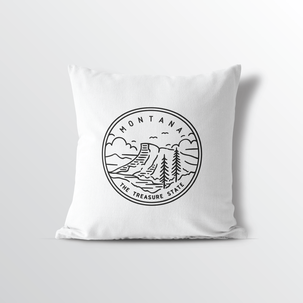 Montana State Crest Throw Pillow