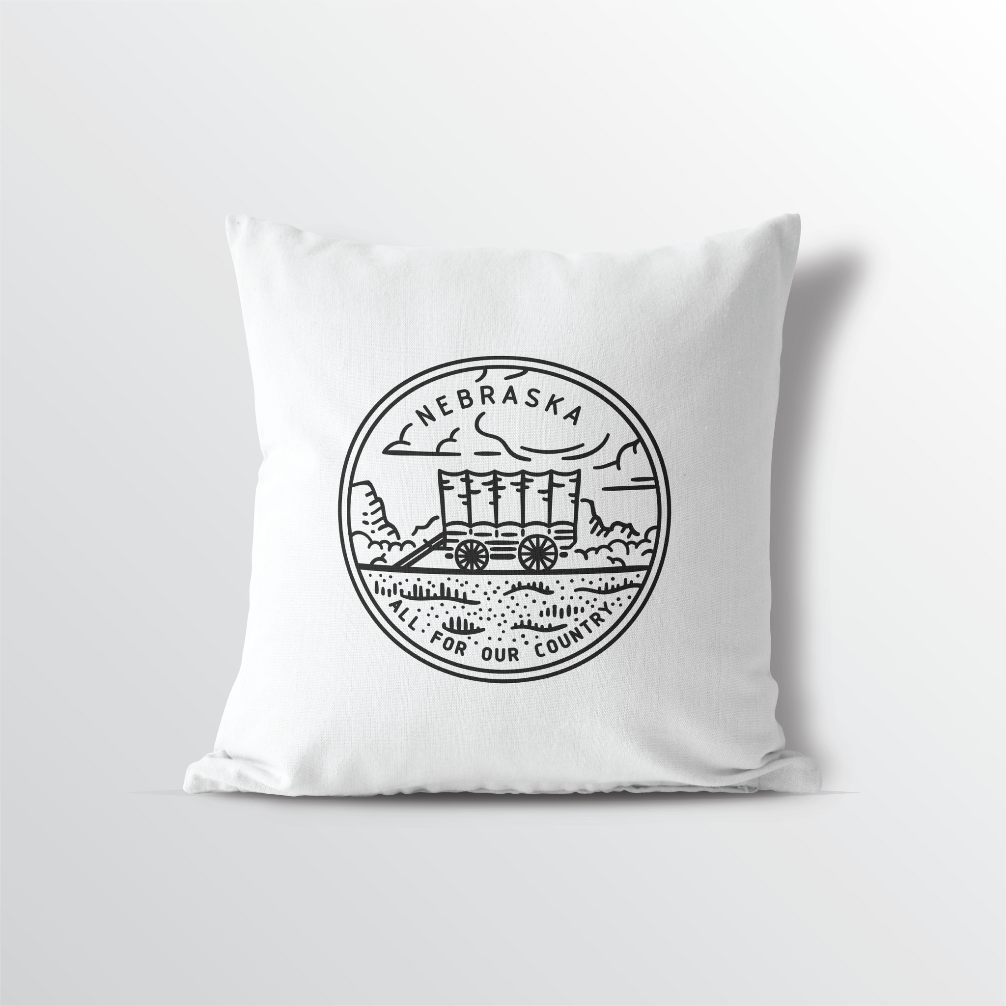 Nebraska State Crest Throw Pillow
