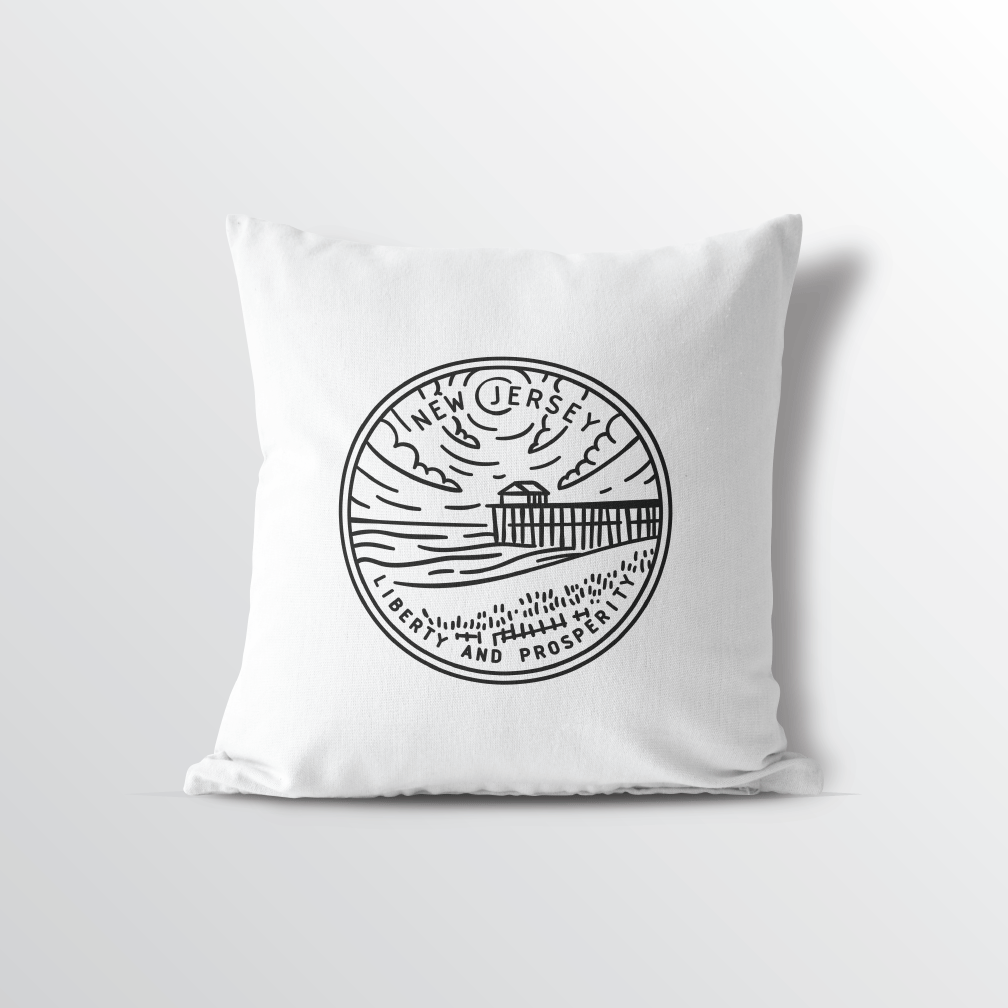 New Jersey State Crest Throw Pillow