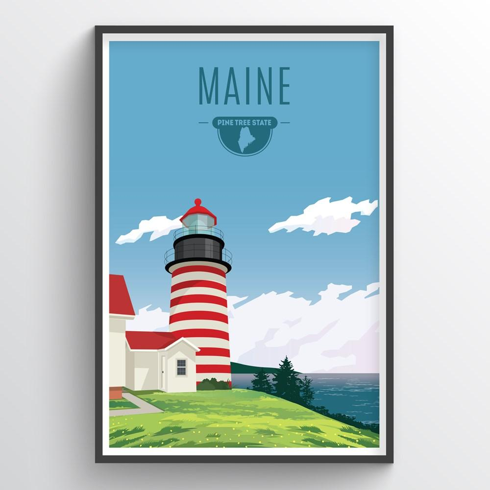 Illustrated Maine State Print - Maine Travel Decor - Point