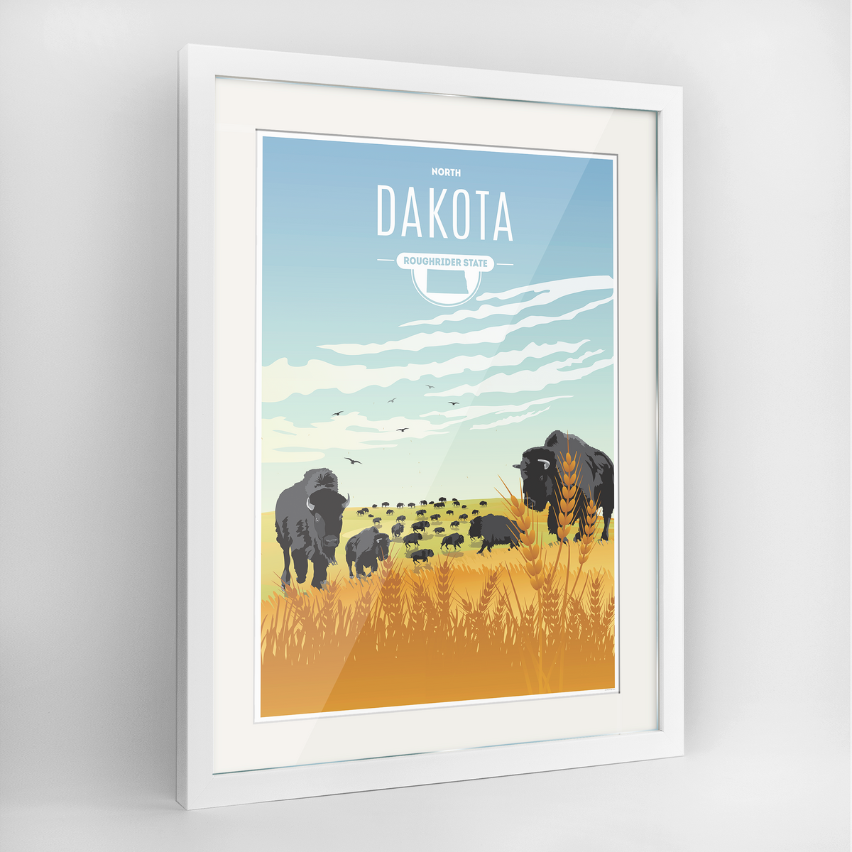North Dakota State Frame Print