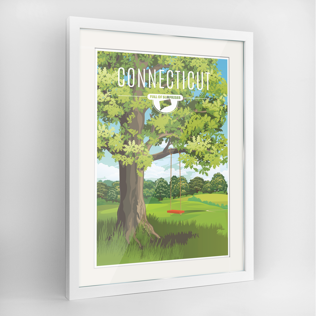 Connecticut State Frame Print