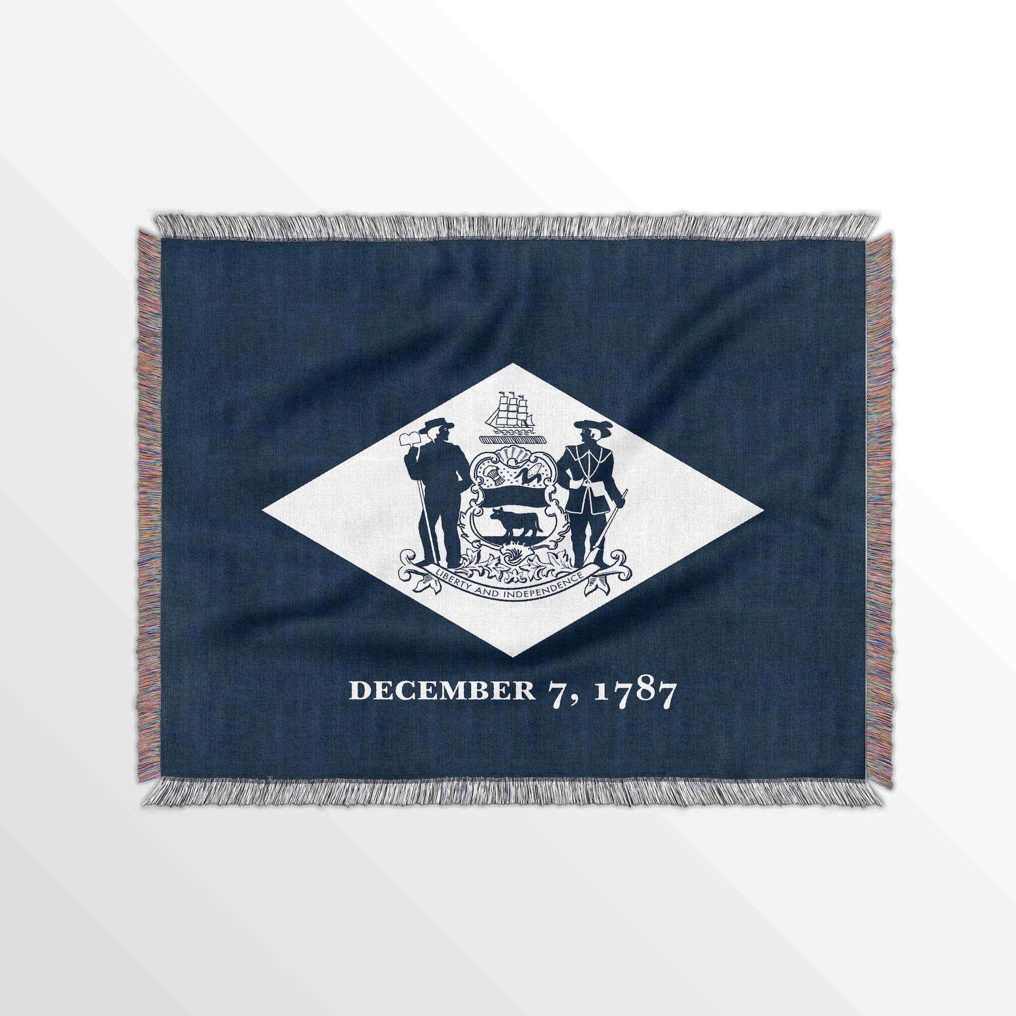 Delaware State Woven Cotton Blanket - Point Two Design