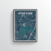 Hyde Park Neighbourhood of Austin City Map Art Print - Point Two Design