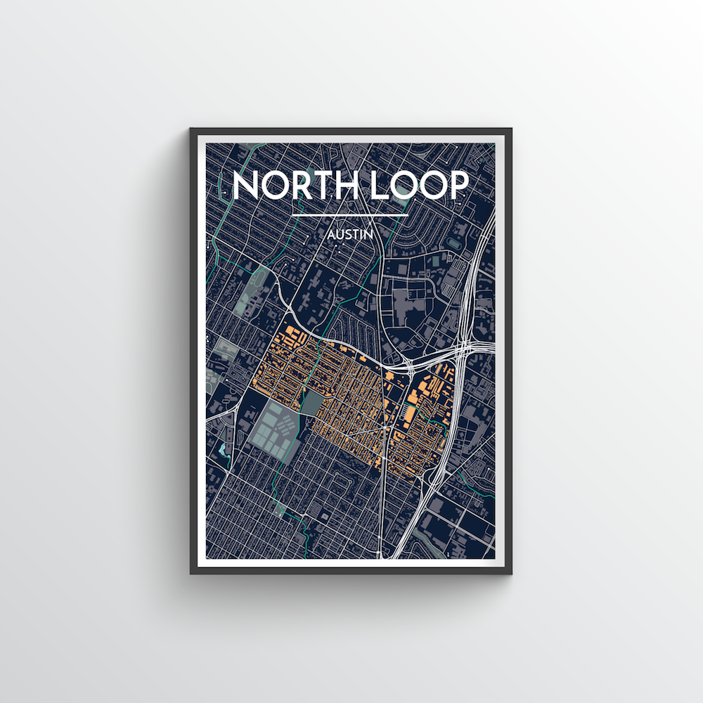 North Loop Neighbourhood of Austin Map Art Print - Point Two Design