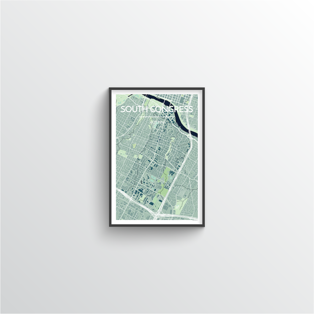 South Congress Neighbourhood of Austin Map Art Print