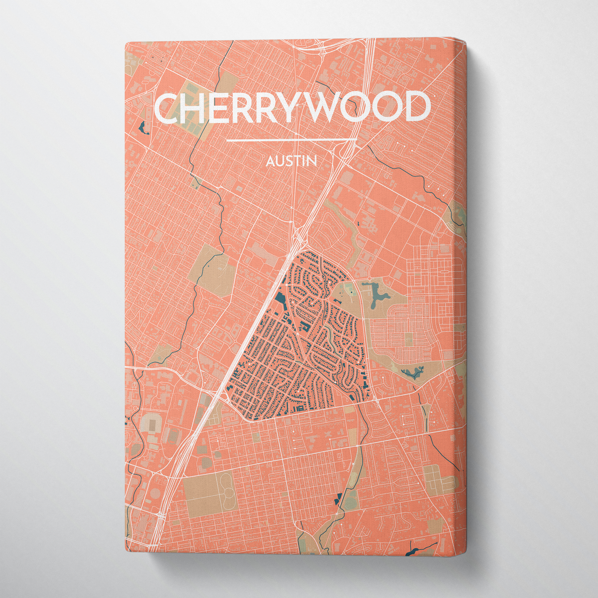Cherrywood Neighbourhood of Austin Map Canvas Wrap - Point Two Design