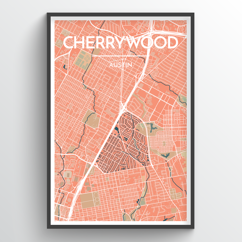 Cherrywood Neighbourhood of Austin Map Art Print - Point Two Design