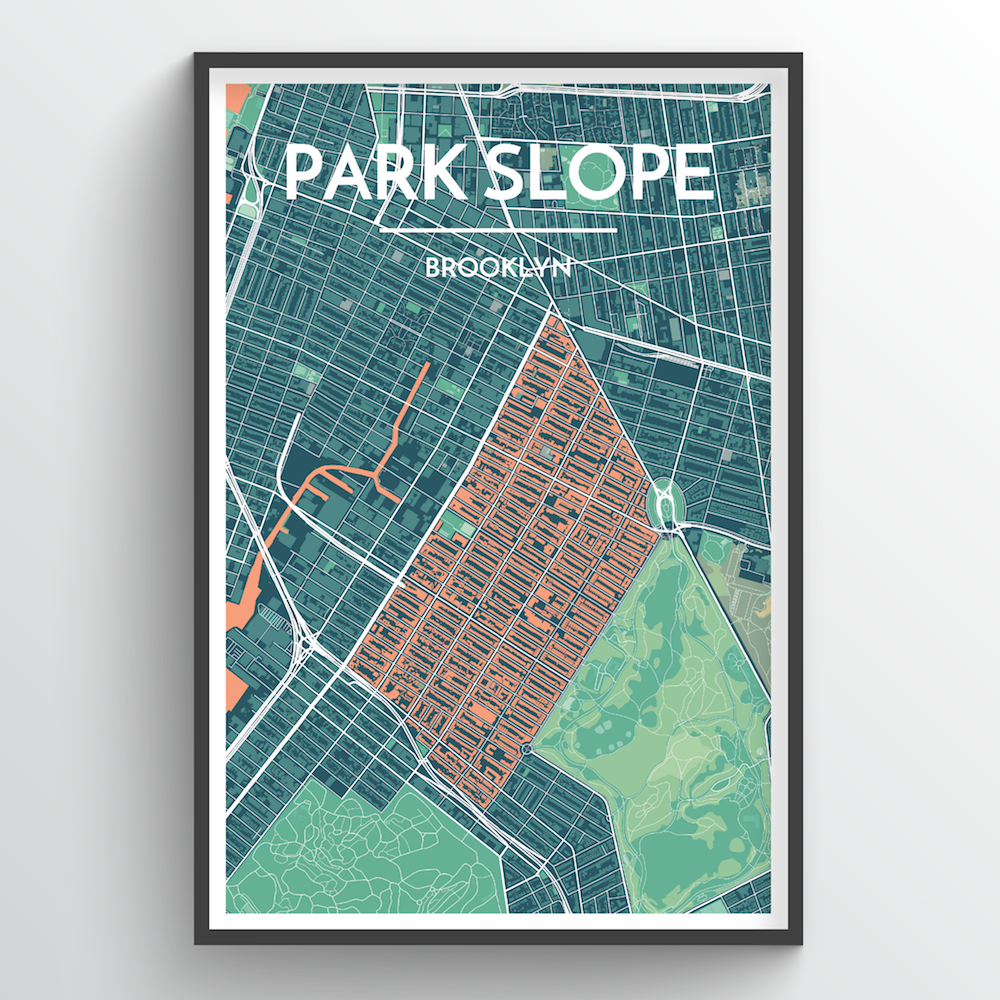 Park Slope City Map Art Print - Point Two Design