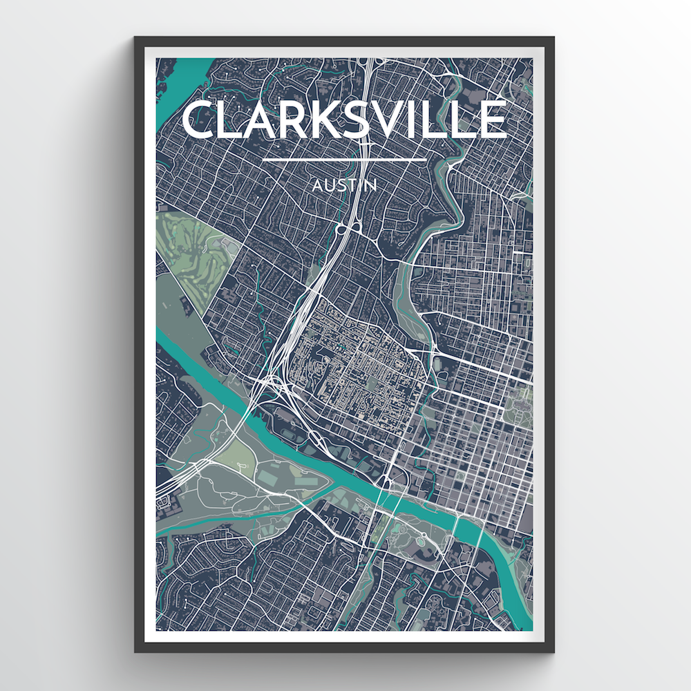 Clarksville Neighbourhood of Austin Map Art Print - Point Two Design
