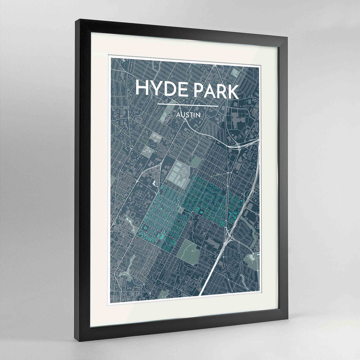 "Framed Hyde Park Neighbourhood of Austin Map Art Print 24x36"" Contemporary Black frame Point Two Design Group"