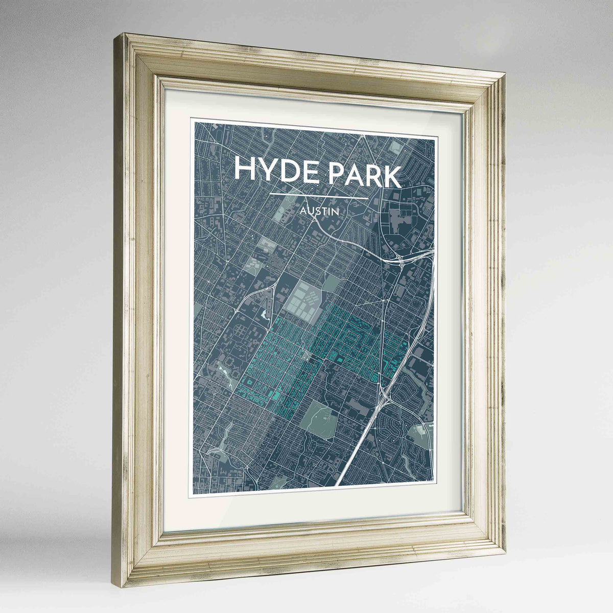 "Framed Hyde Park Neighbourhood of Austin Map Art Print 24x36"" Champagne frame Point Two Design Group"