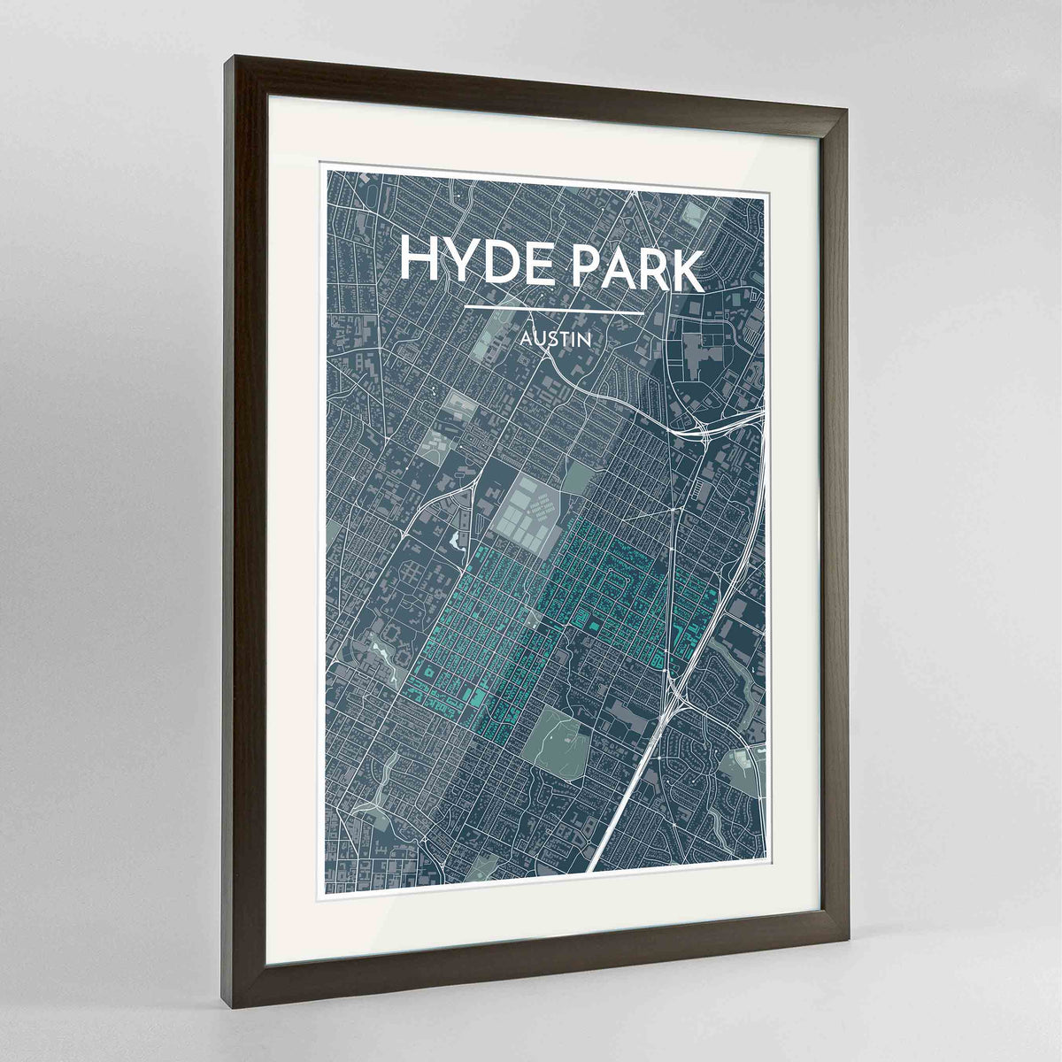 "Framed Hyde Park Neighbourhood of Austin Map Art Print 24x36"" Contemporary Walnut frame Point Two Design Group"