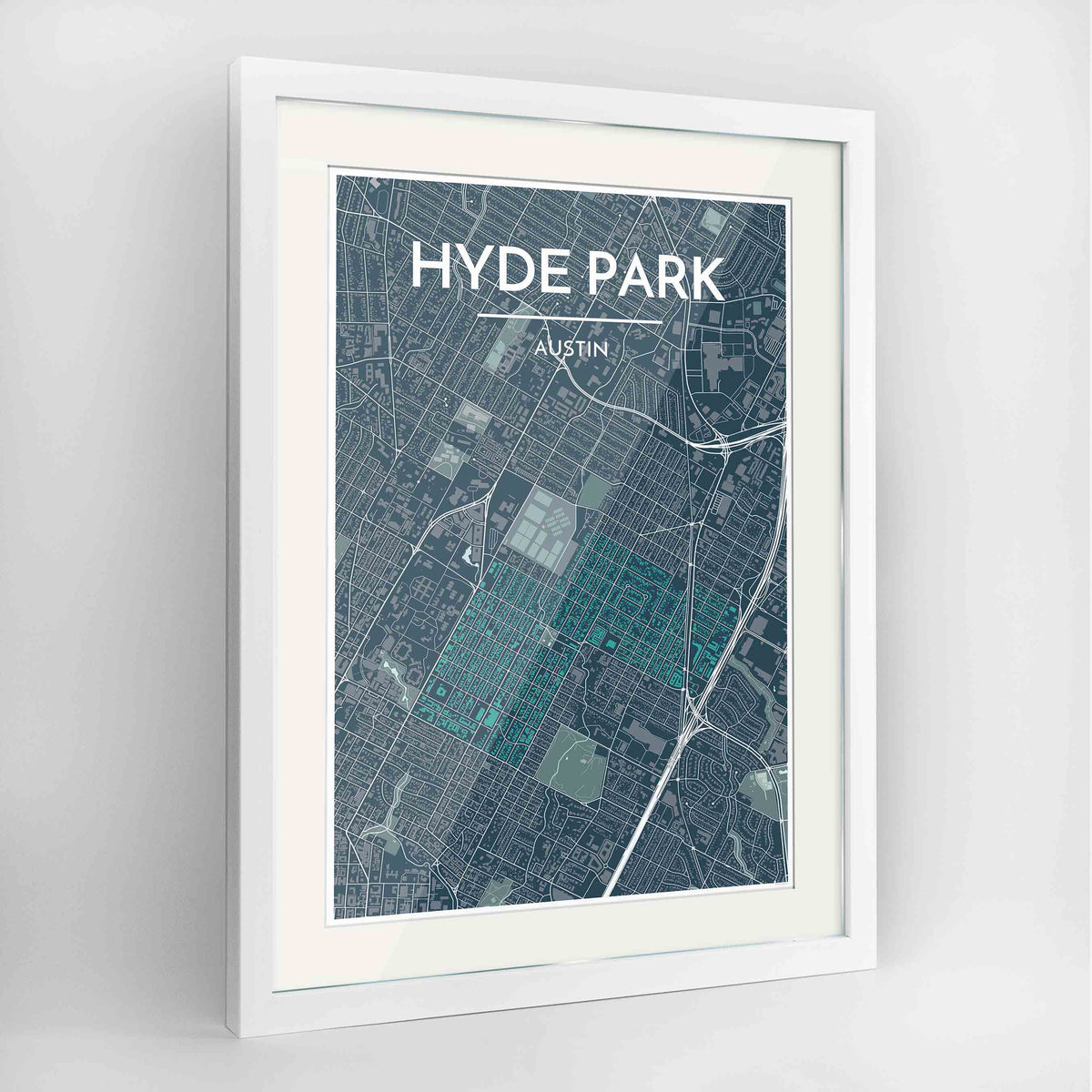 "Framed Hyde Park Neighbourhood of Austin Map Art Print 24x36"" Contemporary White frame Point Two Design Group"