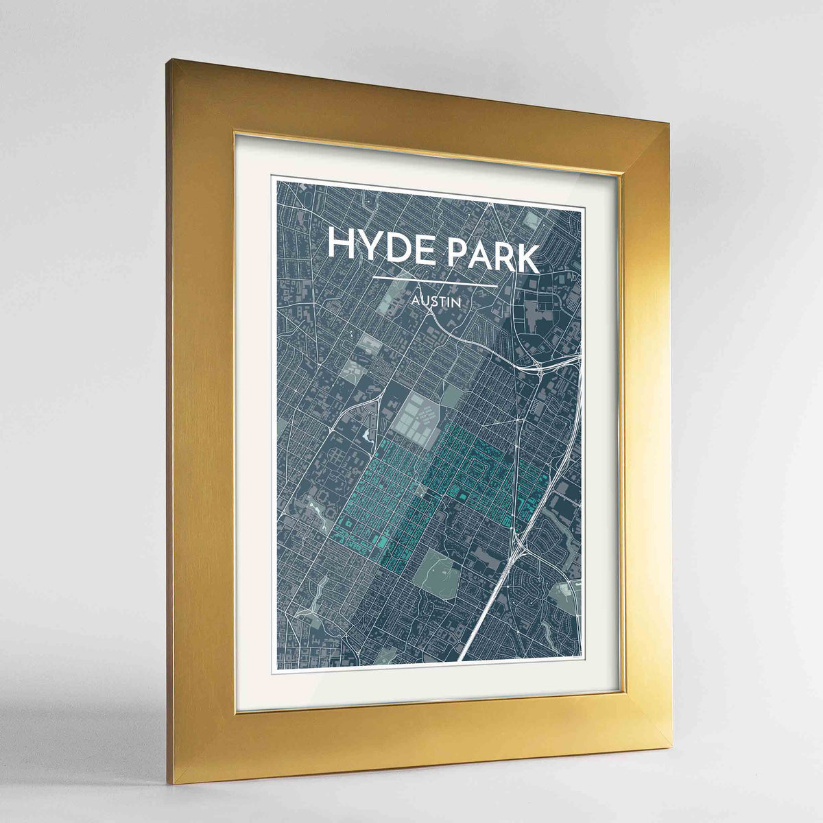 "Framed Hyde Park Neighbourhood of Austin Map Art Print 24x36"" Gold frame Point Two Design Group"