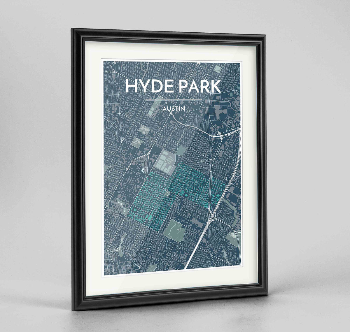 "Framed Hyde Park Neighbourhood of Austin Map Art Print 24x36"" Traditional Black frame Point Two Design Group"